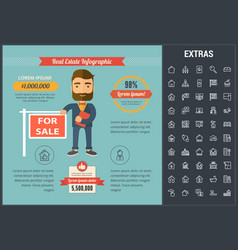 Real estate infographic template elements icons vector