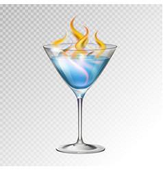 Realistic cocktail sambuka glass vector