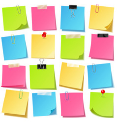 realistic colorful blank sticky notes with clip vector image