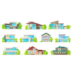 Residential real estate private houses buildings vector