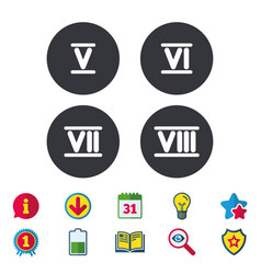 Roman numeral icons number five six seven vector