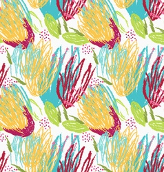 Rough brush green and yellow floral vector image