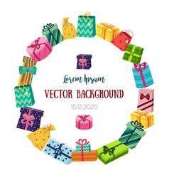 round frame made of flat cartoon gifts presents vector image