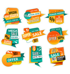sale price tags promotional supermarket discoun vector image