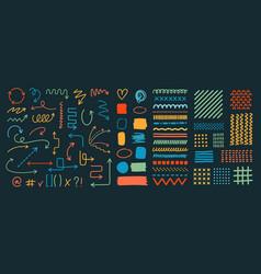 Set various arrows textures patterns vector