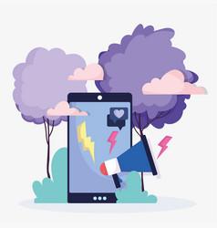 smartphone marketing speaker chat social media vector image