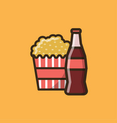 Soda soft drink and box with popcorn vector