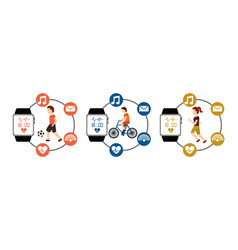 sport set people active fitness with smart watch vector image