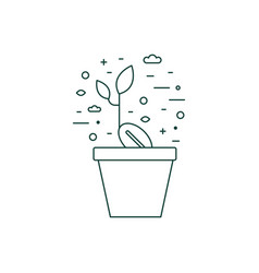 sprout in flower pot line art icon vector image
