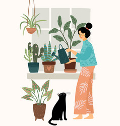 Stay at home woman watering houseplant vector