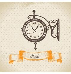 Street clock hand drawn vector
