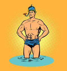 swimmer in swimming trunks and mask for scuba vector image