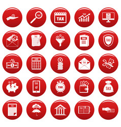 Taxes icons set vetor red vector