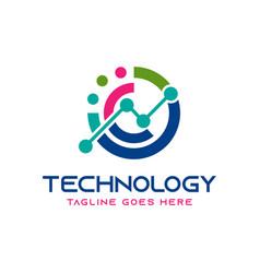 technology logo design with letter n vector image
