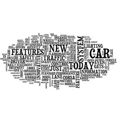 The latest and greatest car features text vector