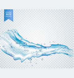transparent water splash with drops in light blue vector image