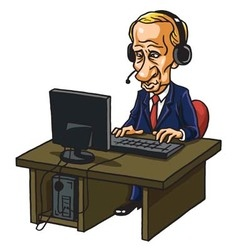 Vladimir Putin With His Computer vector image
