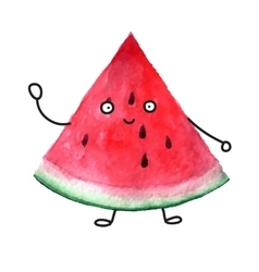 Watercolor super friendly watermelon vector