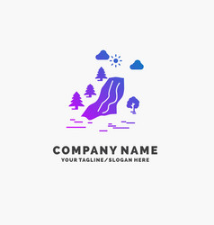 Waterfall tree pain clouds nature purple business vector