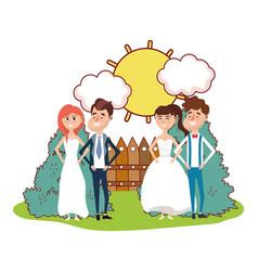 Wedding portrait cartoon vector