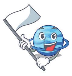 With flag plenet uranus above the sky cartoon vector
