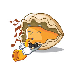 with trumpet oyster mascot cartoon style vector image