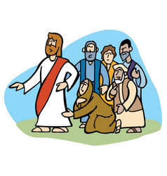 Woman gets healed touching jesus garment vector