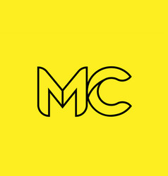 Yellow black line alphabet letter mc m c logo vector