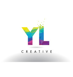 yl y l colorful letter origami triangles design vector image