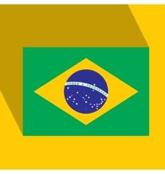 Brazil Flat Icon with Brazilian Flag vector image