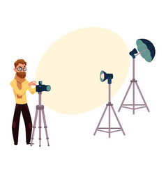 male photographer taking pictures shooting in vector image