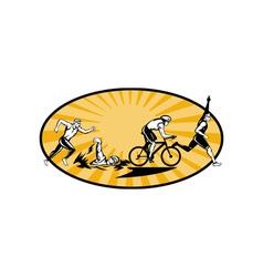 Triathlon athlete swim bike and run competition vector image