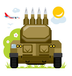 anti-aircraft missile system flat style vector image vector image