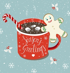 Christmas Hot chocolate card vector image vector image