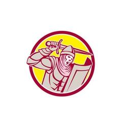 Crusader Knight With Sword and Shield Circle Retro vector image vector image