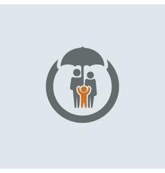 Gray-orange Family Round Icon vector image