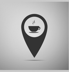 map pointer with hot coffee cup on grey background vector image vector image
