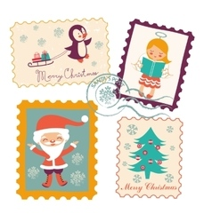 Vintage Christmas stamps collection vector image