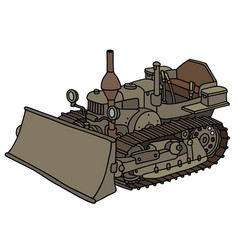 Vintage tracked dozer vector