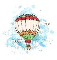 Air balloon and watercolor blots vector