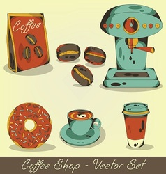 Coffee shop set vector image vector image
