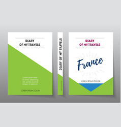 cover for diary of travels in france a4 brochure vector image vector image
