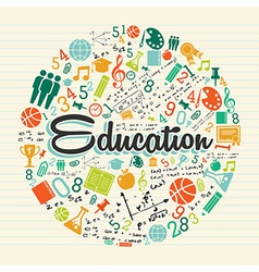 Education circle colorful icons vector image vector image