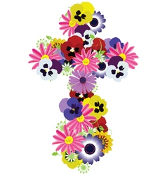 floral cross vector image vector image