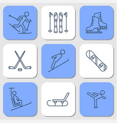 nine icons - winter sport activities vector image
