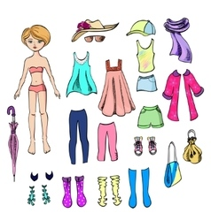 paper doll and a set clothes for her vector image