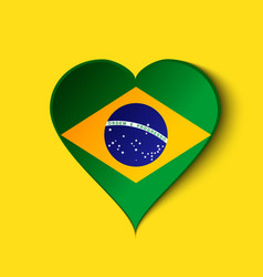 Brazil Heart icon with Brazilian Flag vector image