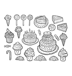 Set of cute monochrome sweets vector image
