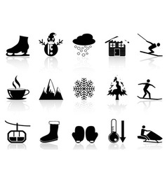 winter icons set vector image vector image