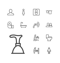 13 toilet icons vector
